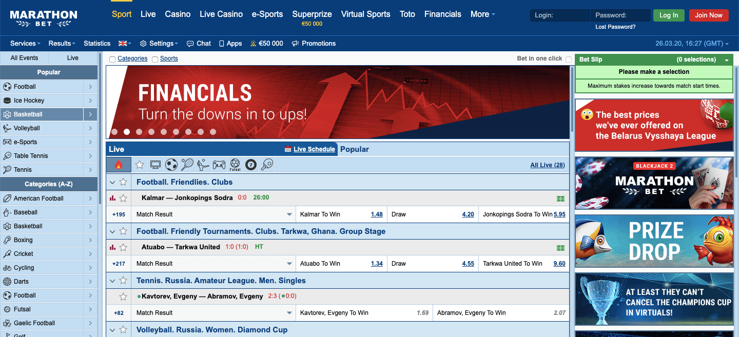 Marathonbet Screenshot