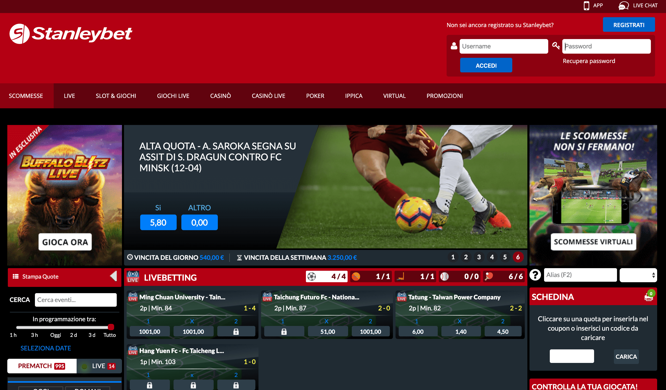 stanleybet screenshot homepage