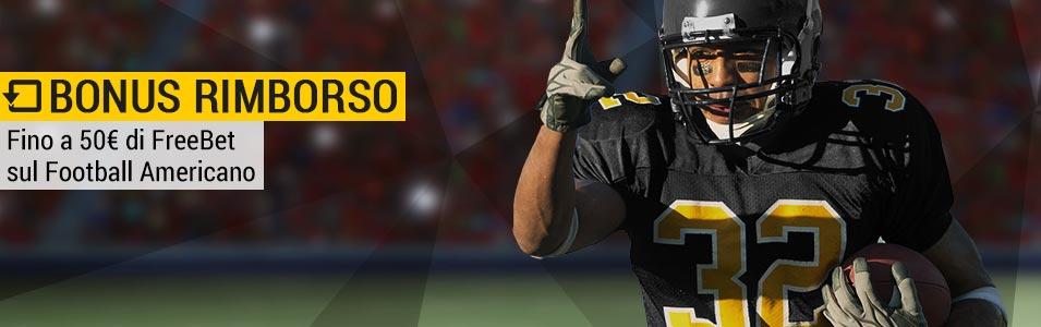 Bwin: 50 euro di rimborso per scommesse su NFL