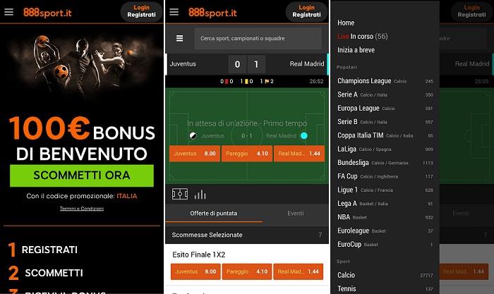888sport app mobile Italia