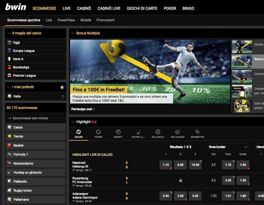 bwin.it homepage