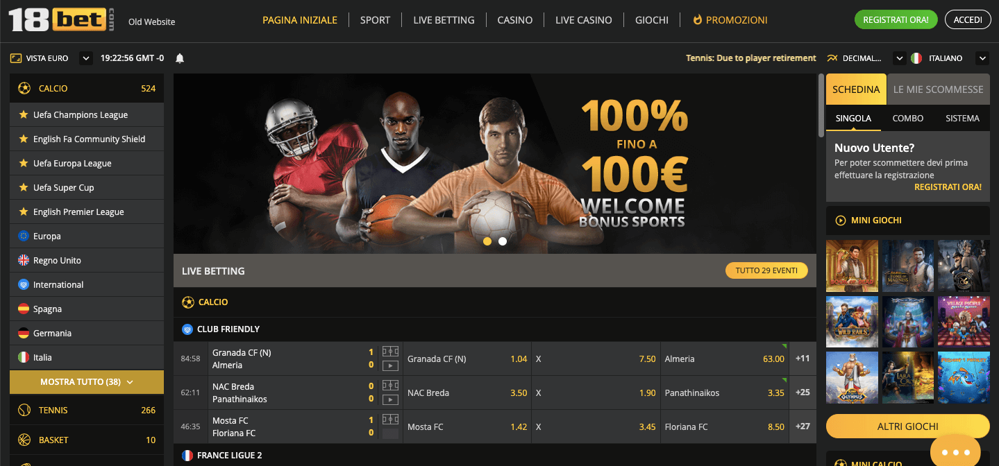 18Bet Screenshot