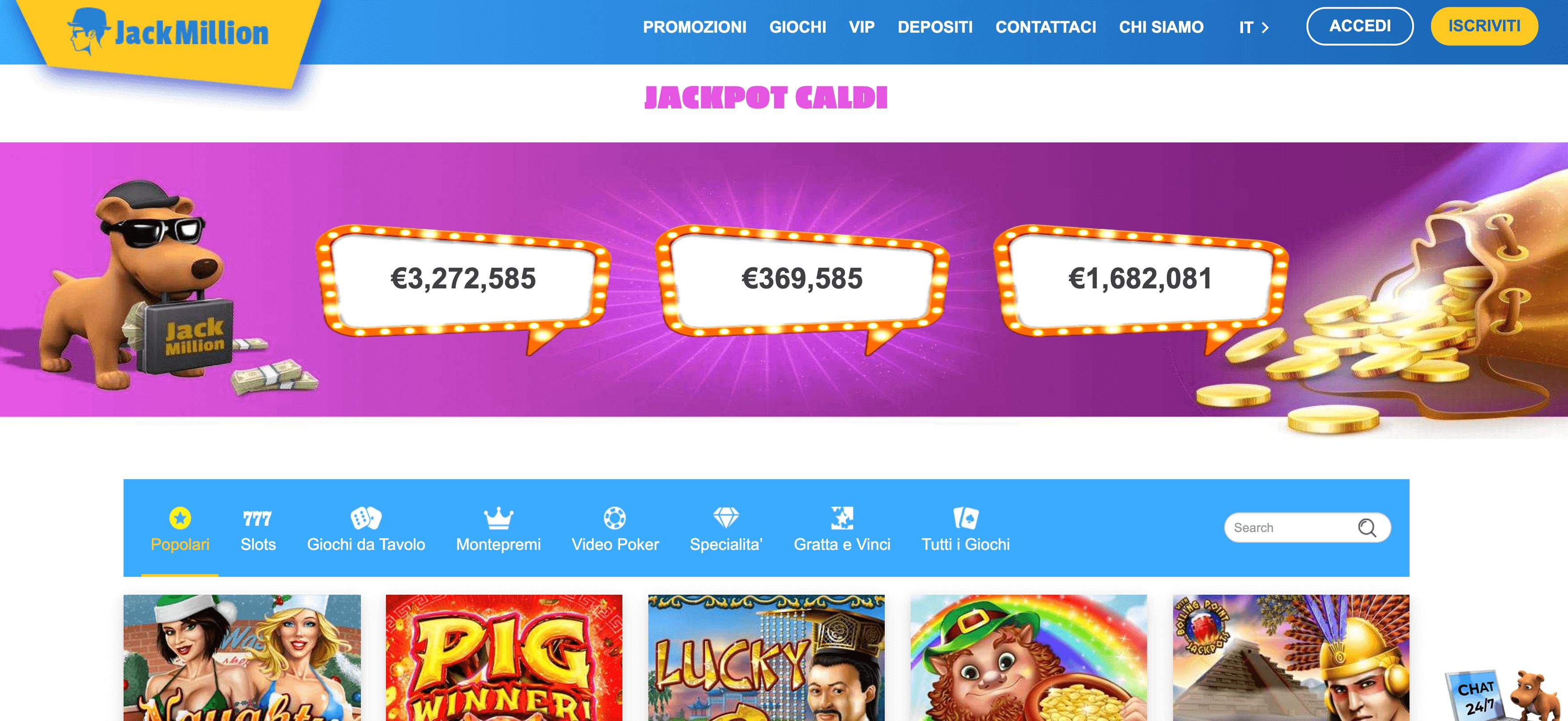 jackmillion casino homepage