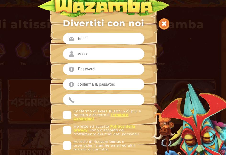 wazamba registrazione