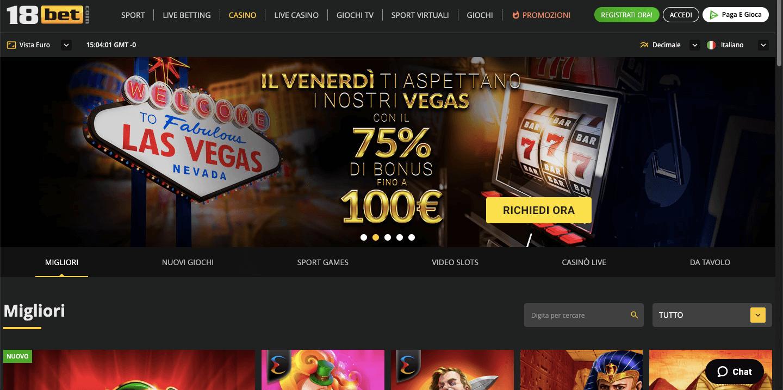18Bet Casino Screenshot