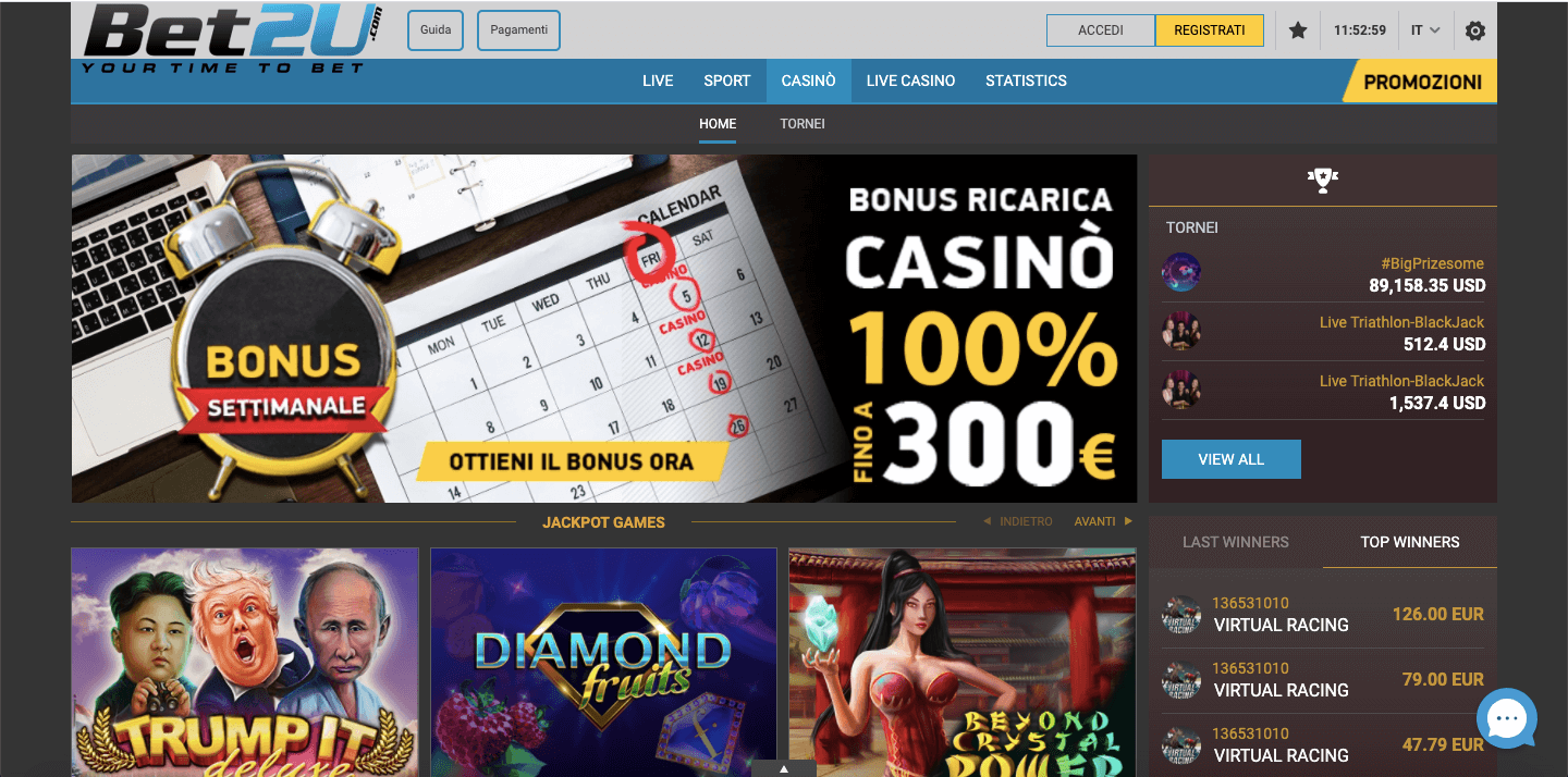 Bet2u Casinò Screenshot