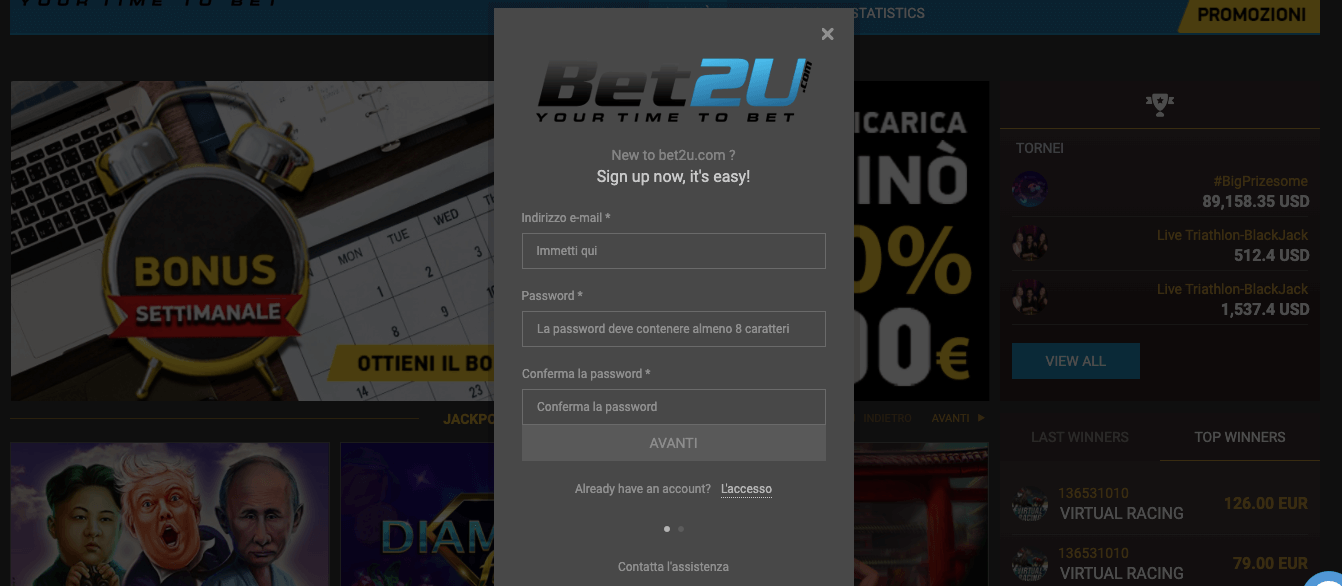 bet2u casino registrazione