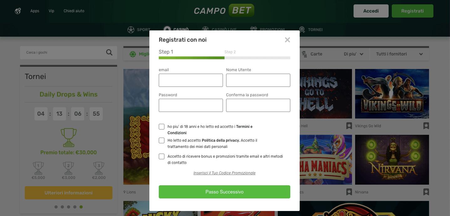 campobet casino registrazione