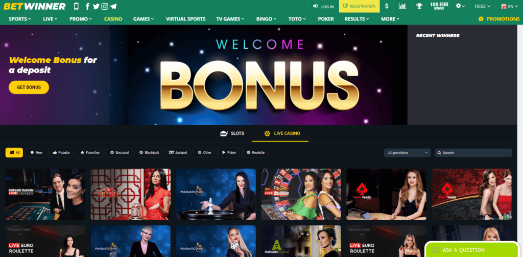 Betwinner Casinò Screenshot