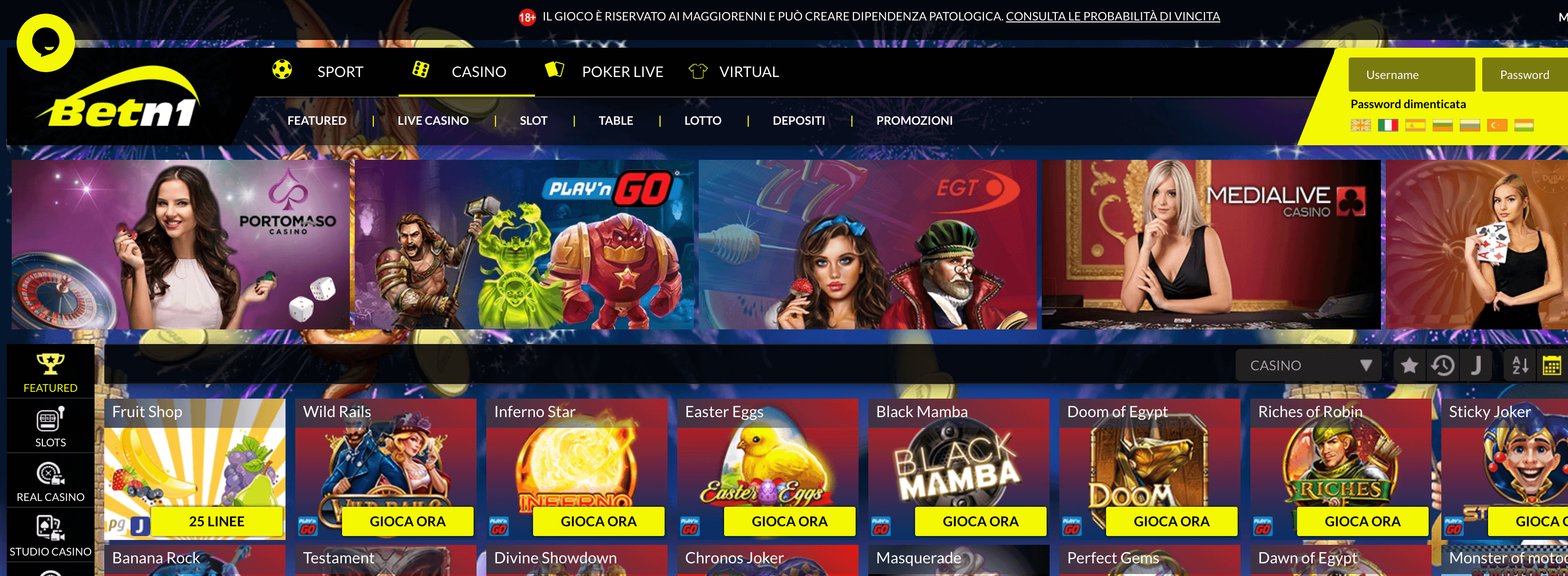 Betn1 Casino Screenshot