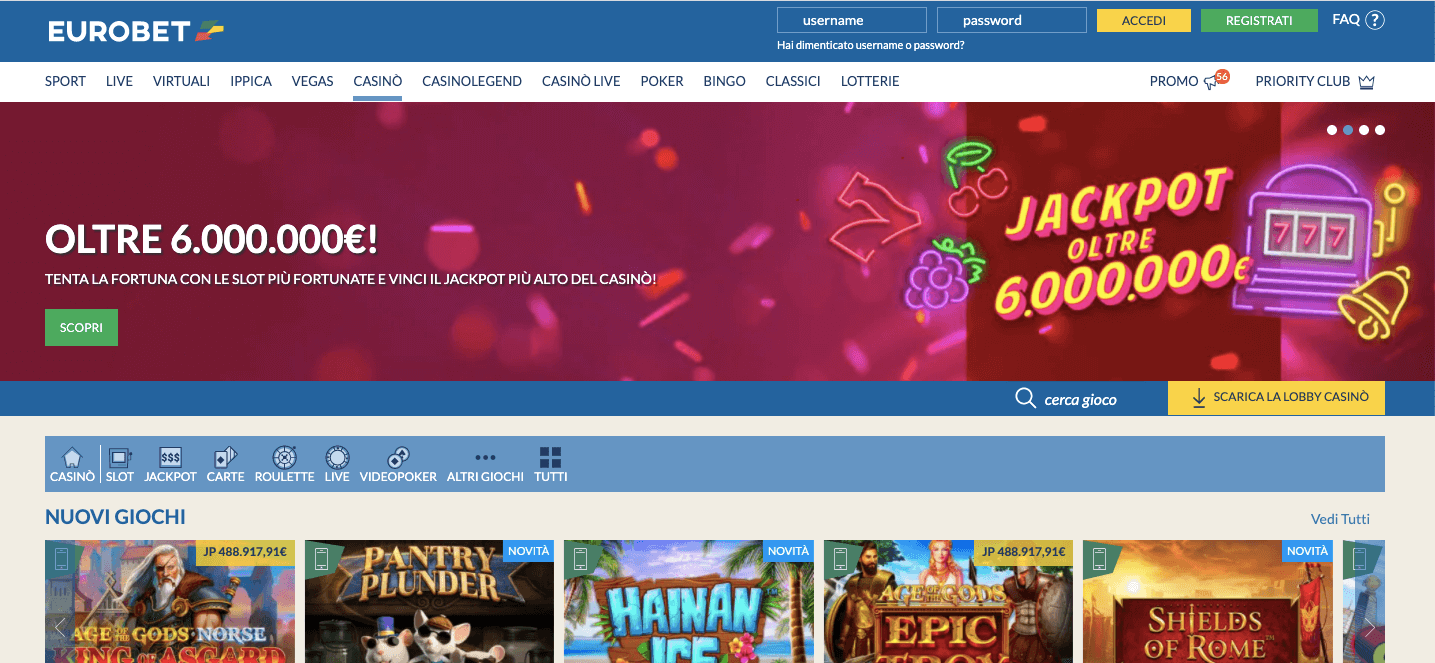 EurobetCasinò homepage