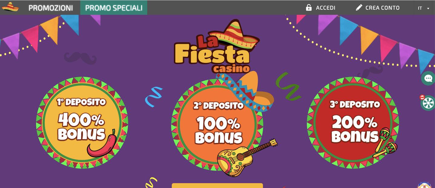 La FiestaCasinò welcome bonus