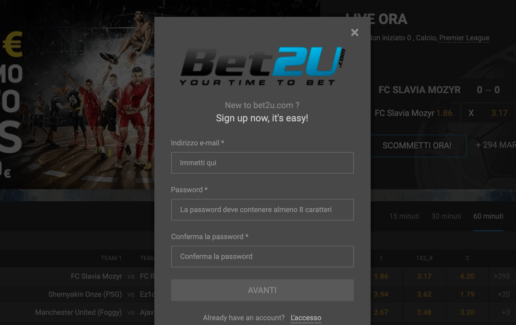 bet2u registrati apri nuovo account