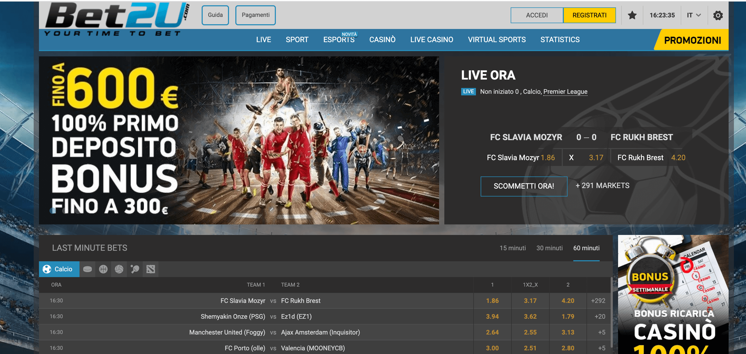 bet2u screenshot homepage