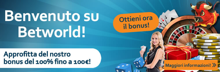 betworld casino bonus benvenuto