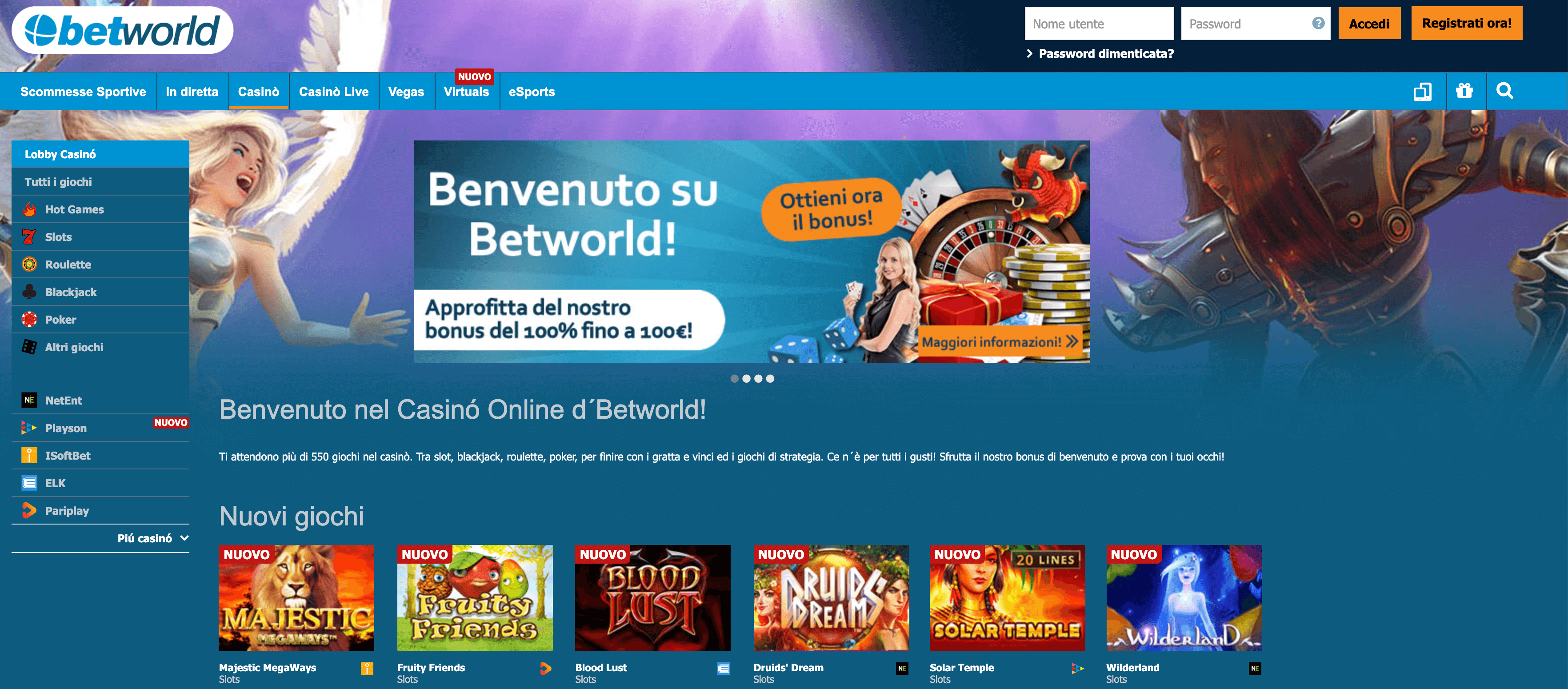 Betworld Casinò Screenshot