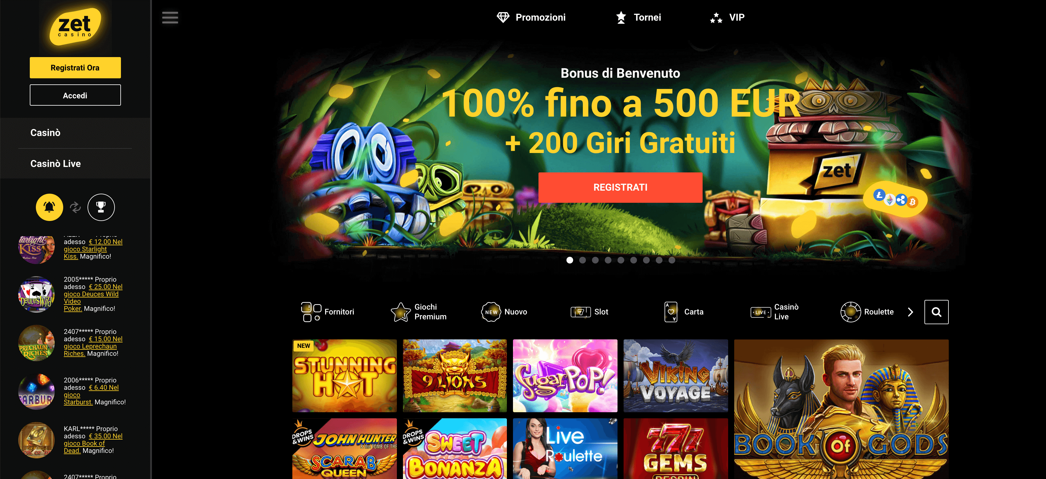 ZetCasinò Screenshot