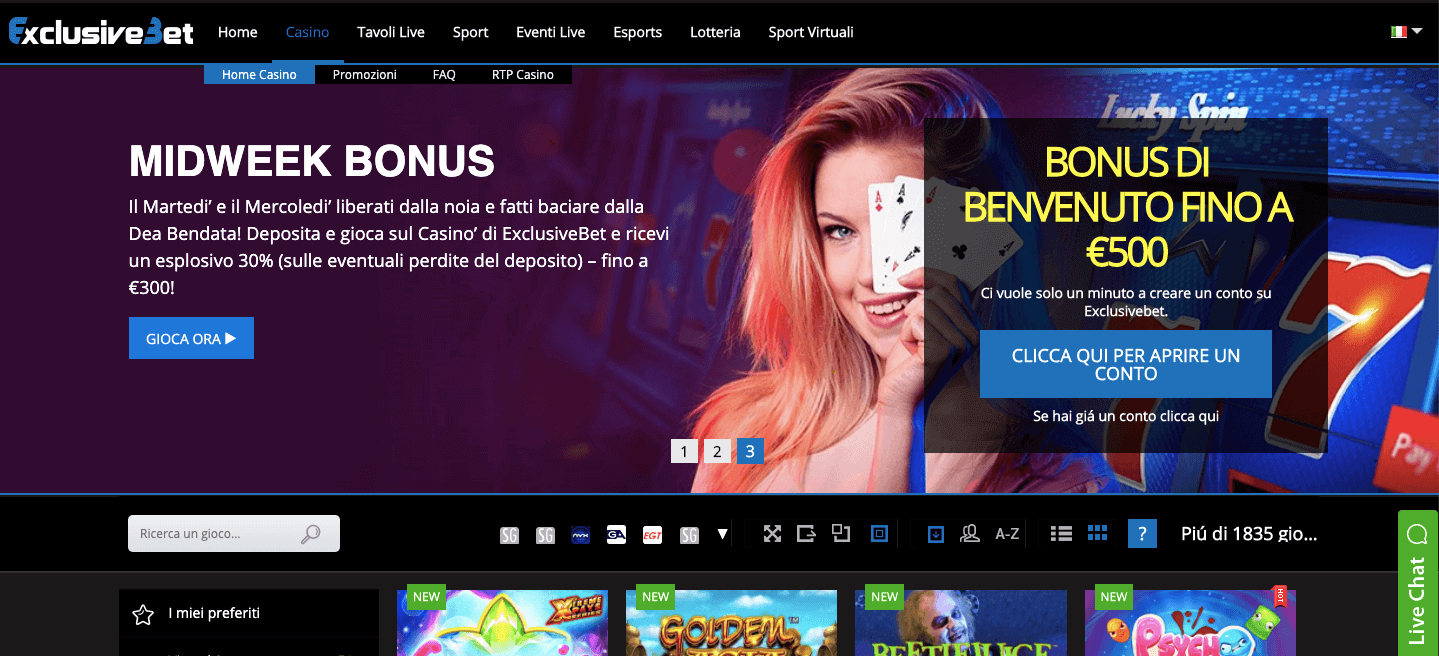 ExclusivebetCasinò homepage