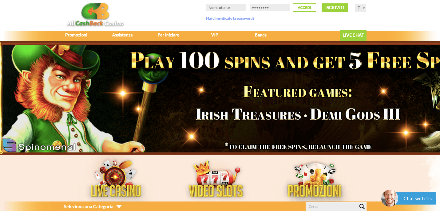 All Cashback Casinò homepage