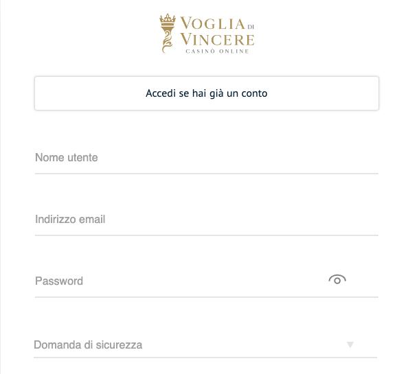 Voglia di Vincere Casino registrati