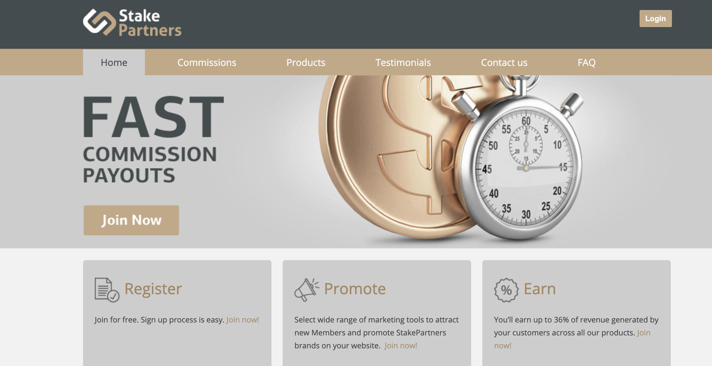 StakePartners homepage
