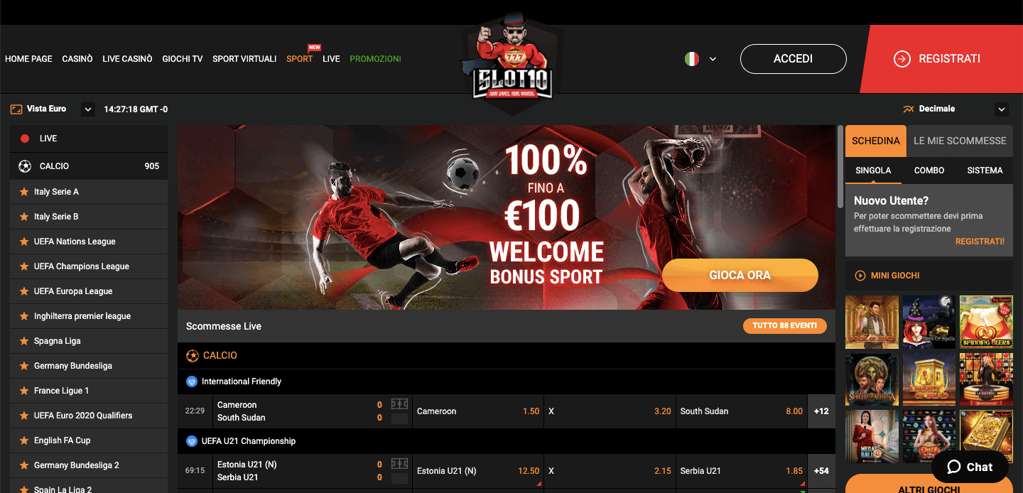 Slot10 Scommesse homepage