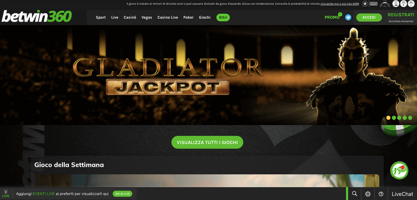 Betwin360 Casino Screenshot