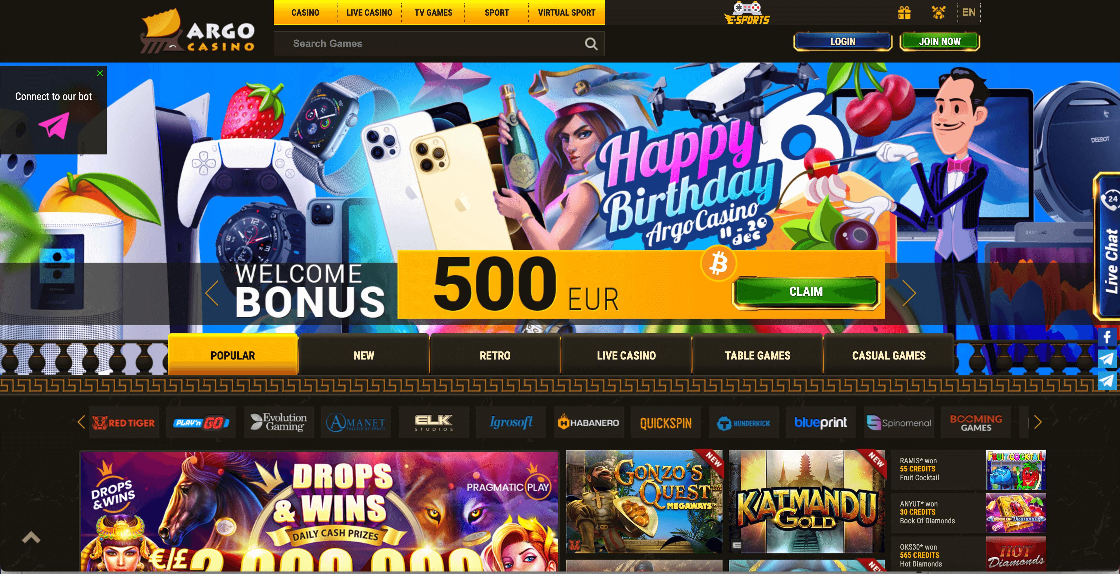 Argo Casino Screenshot