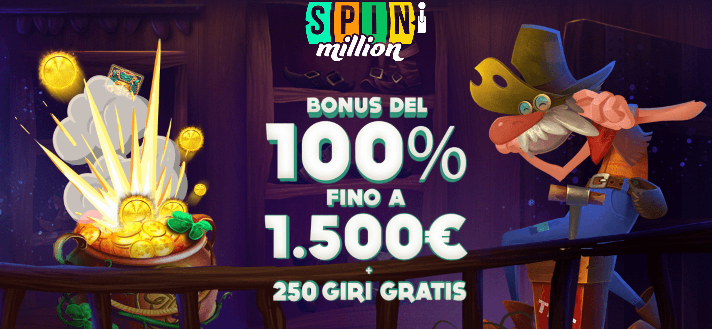 spin million casino bonus benvenuto