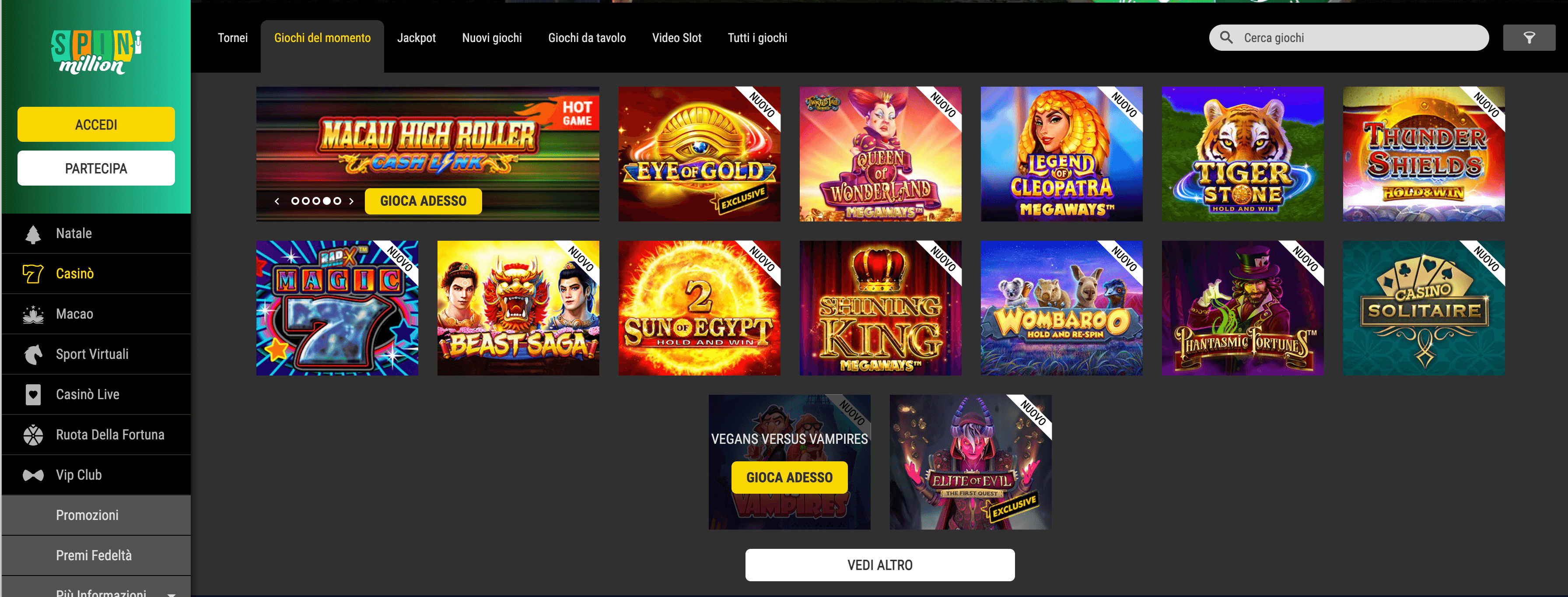 spin million casino giochi slot