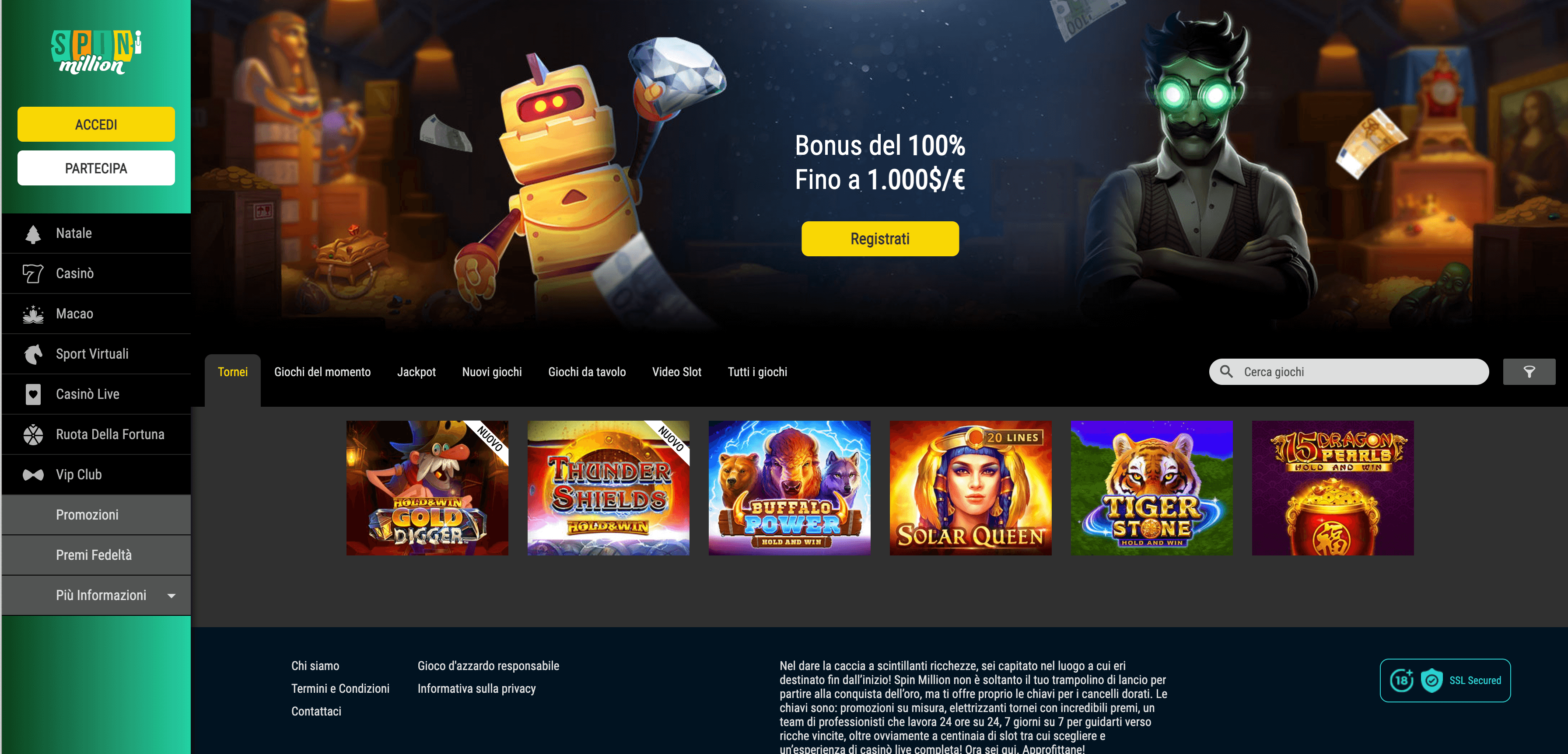 Spin Million Casino Screenshot