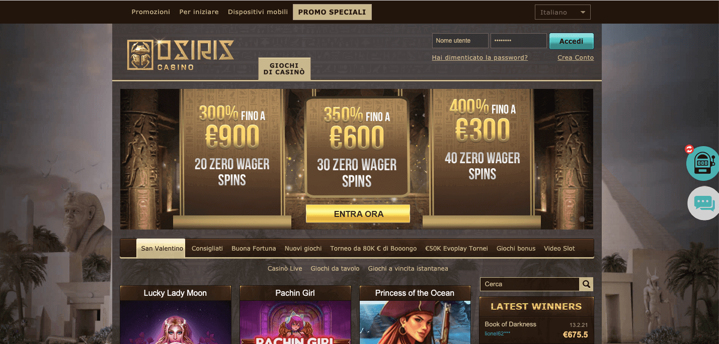 Osiris Casino Screenshot