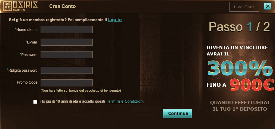 Osiris Casino Registrazione