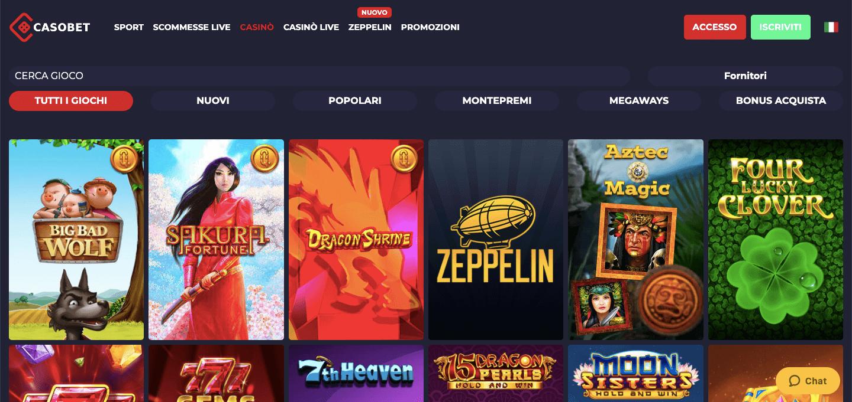 Casobet Casino Screenshot