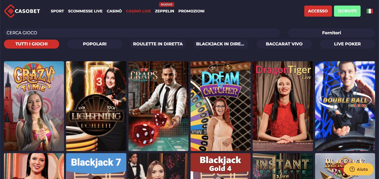 Casobet Casino Live
