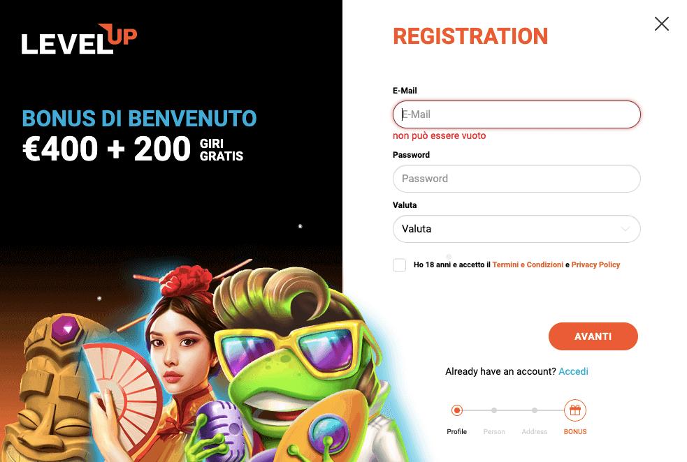 LevelUp Casino Registrazione