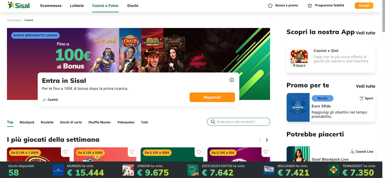 Sisal Casino Screenshot