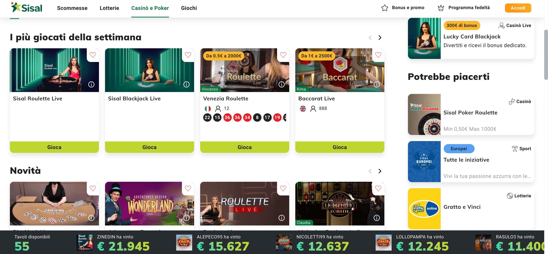 Sisal Casino Slot Live