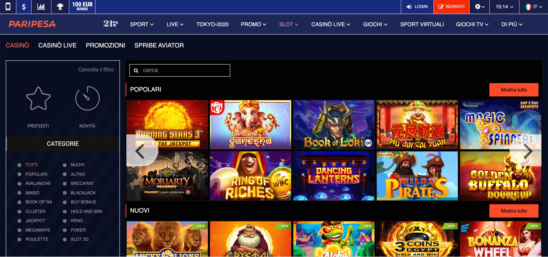 Paripesa Casino Screenshot