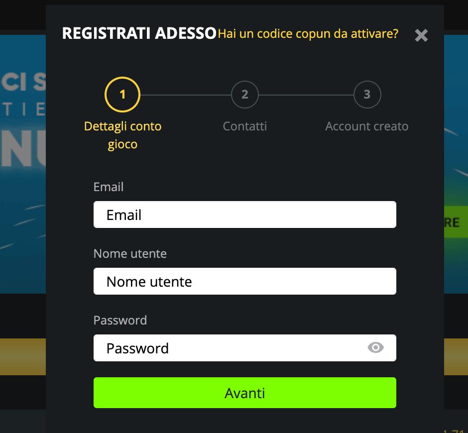 Weltbet Registrazione