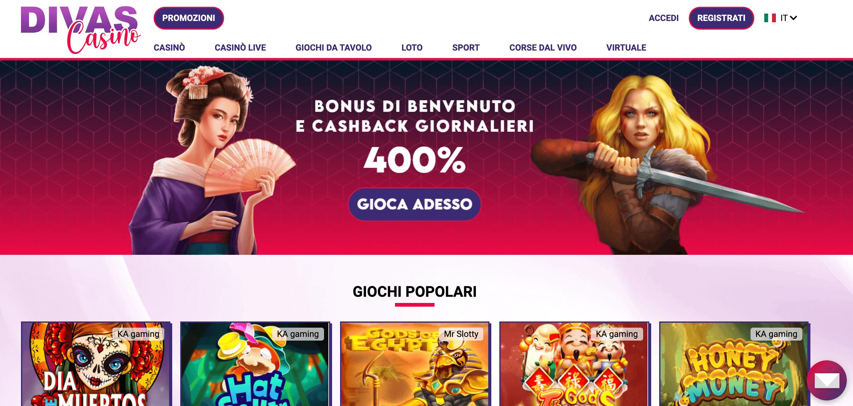Divas Casino Screenshot