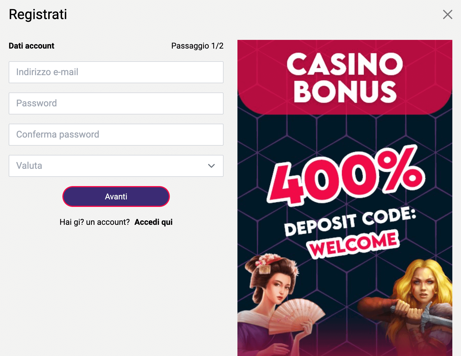 Divas Casino Registrazione