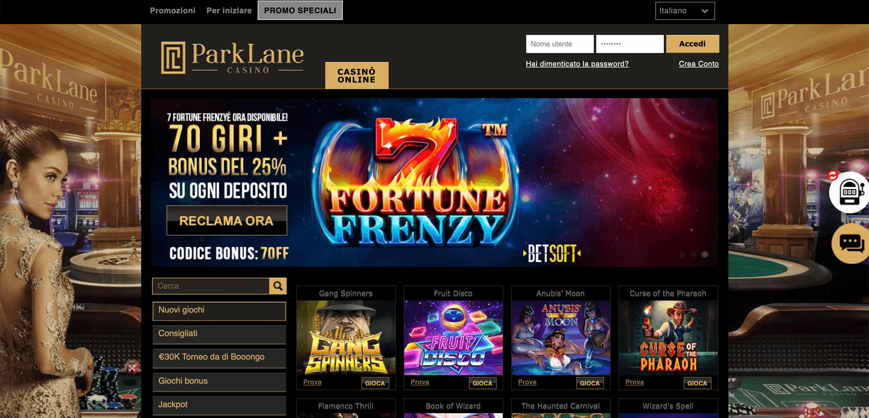 ParkLane Casino Screenshot
